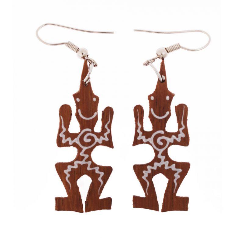 Malované dřevěné náušnice Šťastní domorodci