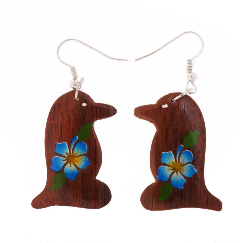 Malované dřevěné náušnice Tunáci