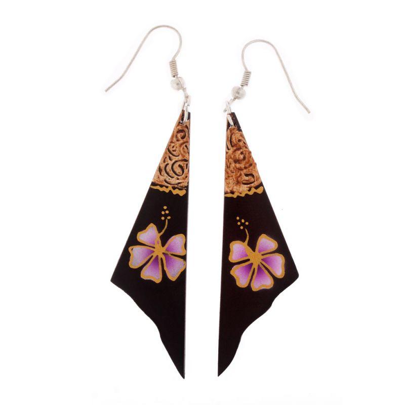 Malované dřevěné náušnice Závoj s fialovým květem