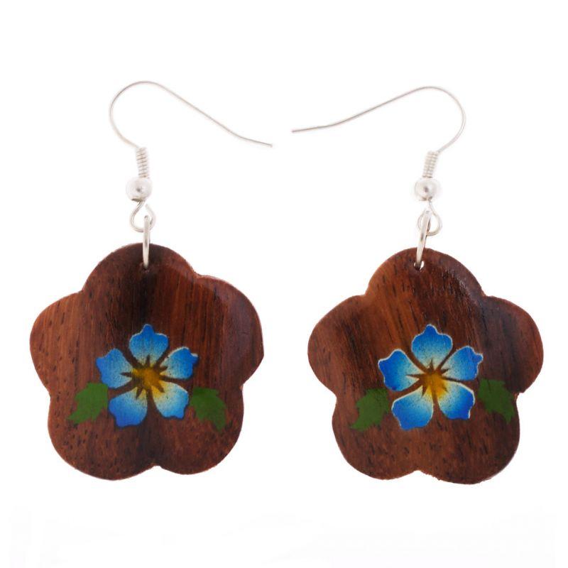 Malované dřevěné náušnice Tyrkysové květy