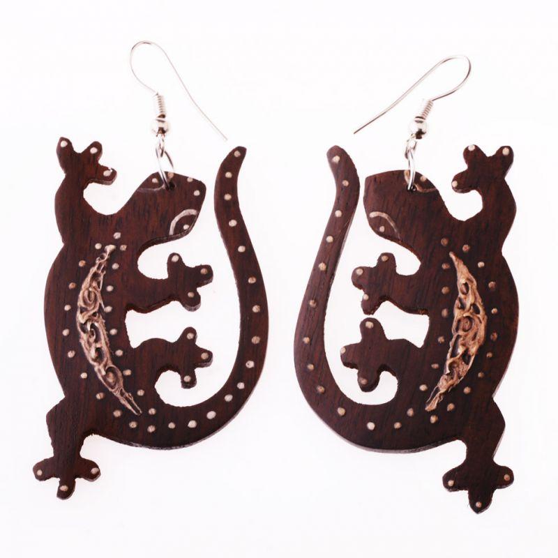Malované dřevěné náušnice Gekoni v říji