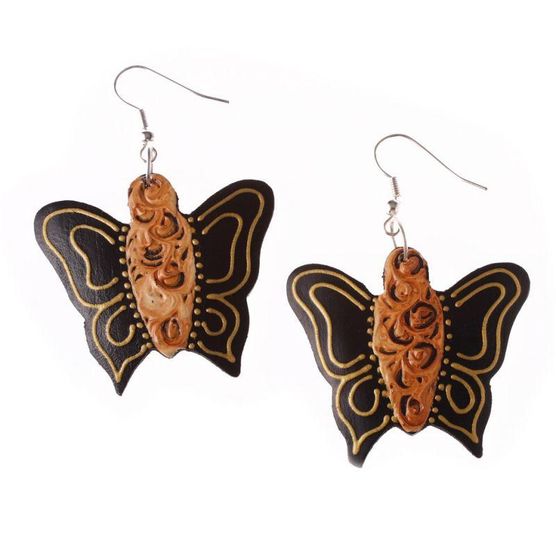 Malované dřevěné náušnice Motýlci