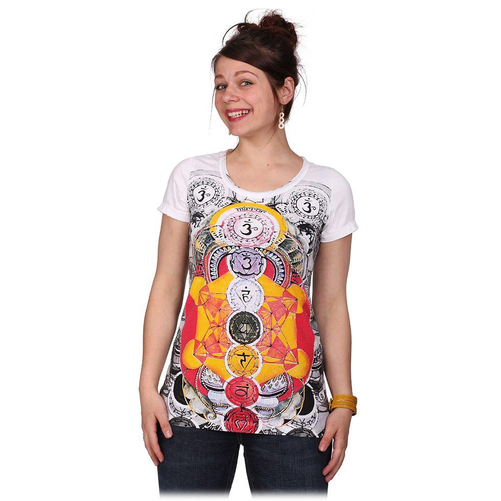 Dámské tričko Mirror s krátkým rukávem Chakras White