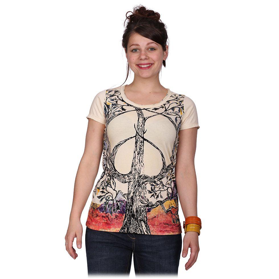 Dámské tričko Mirror s krátkým rukávem Tree of Peace Beige