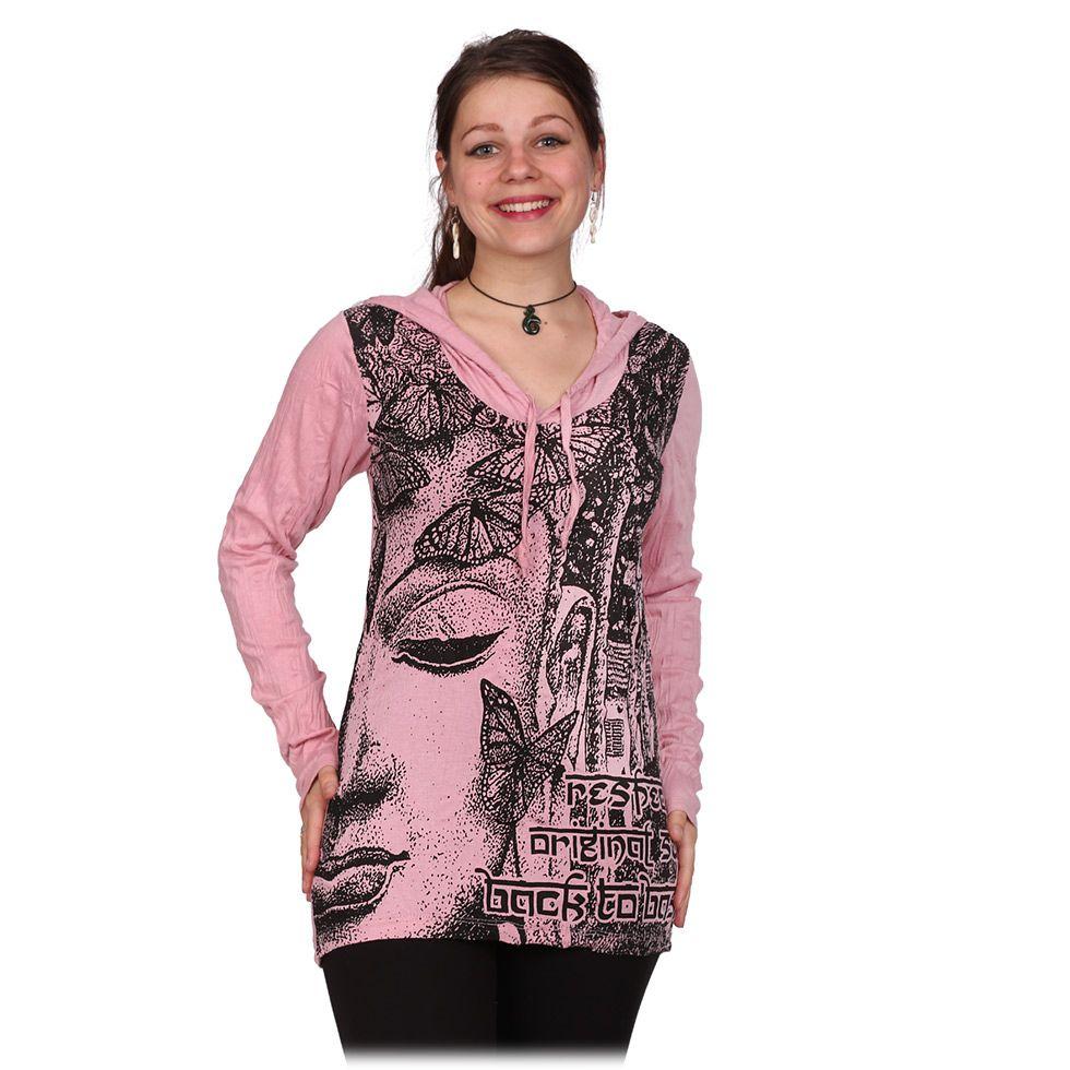 Dámské tričko Sure s kapucí Buddha's Butterflies Pink
