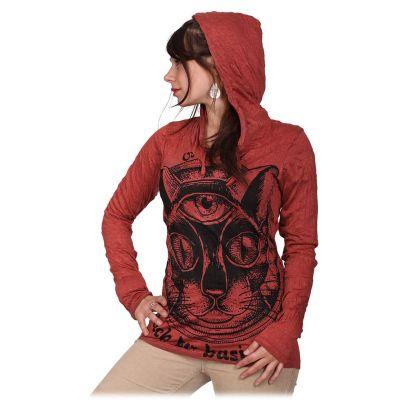 Dámské tričko Sure s kapucí Cat's Insight Bordeaux