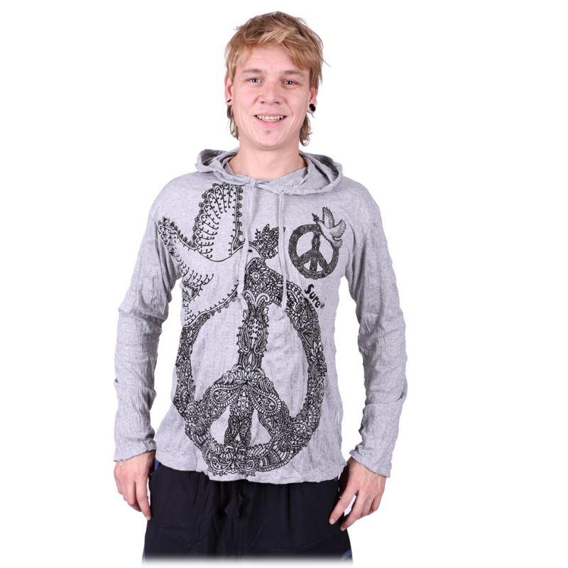 Pánské tričko Sure s dlouhým rukávem a kapucí - Dove of Peace