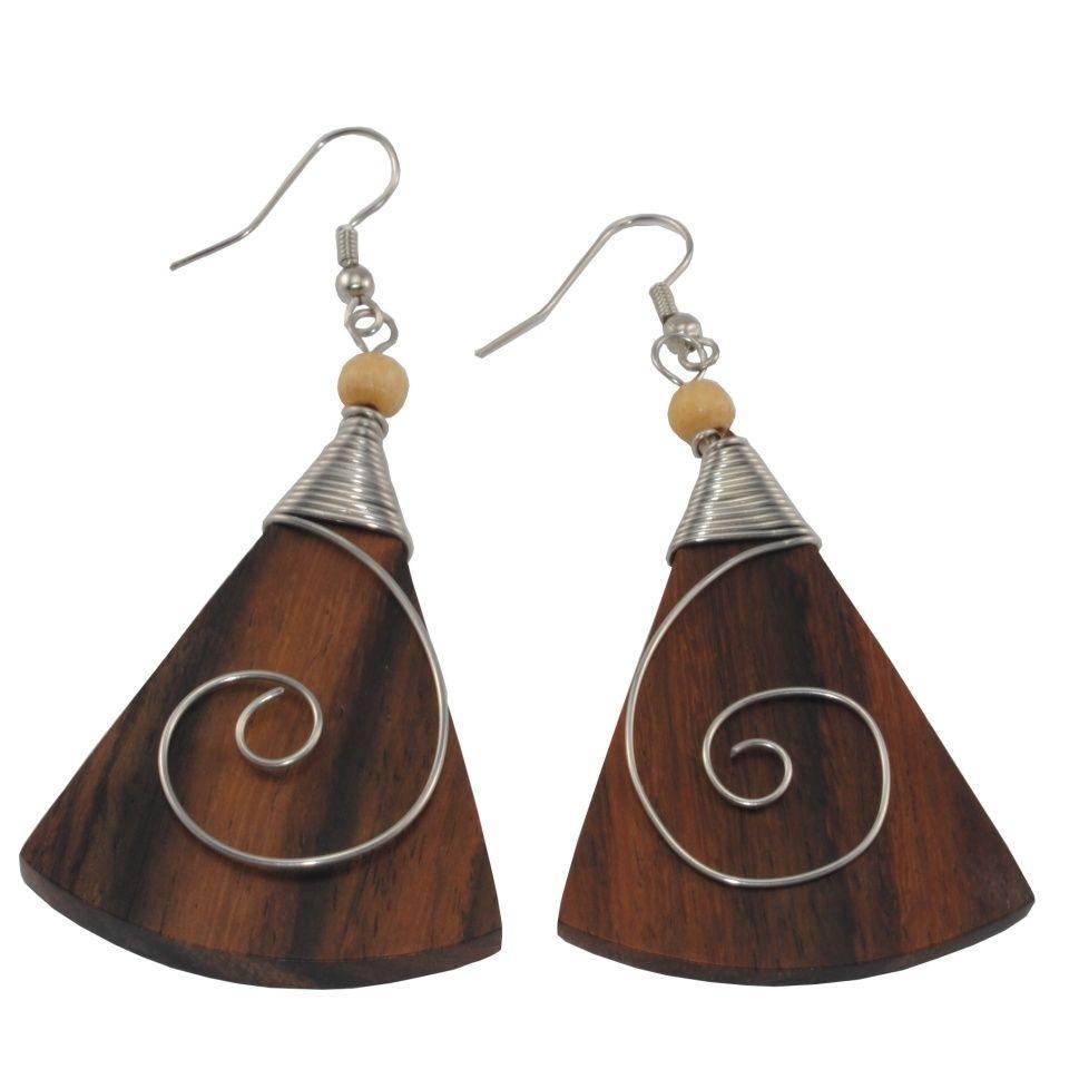 Dřevěné náušnice s chirurgickou ocelí Antická krása - trojúhelník