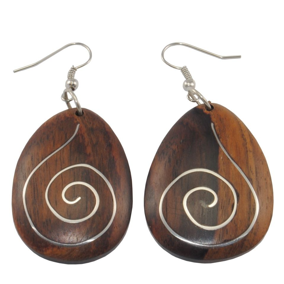 Dřevěné náušnice s chirurgickou ocelí Dřevěná harmonie