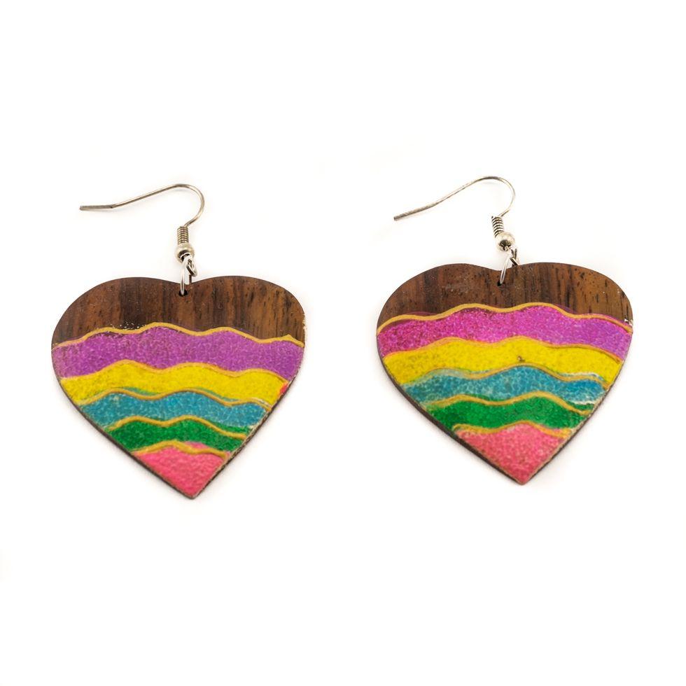 Malované dřevěné náušnice Energická láska
