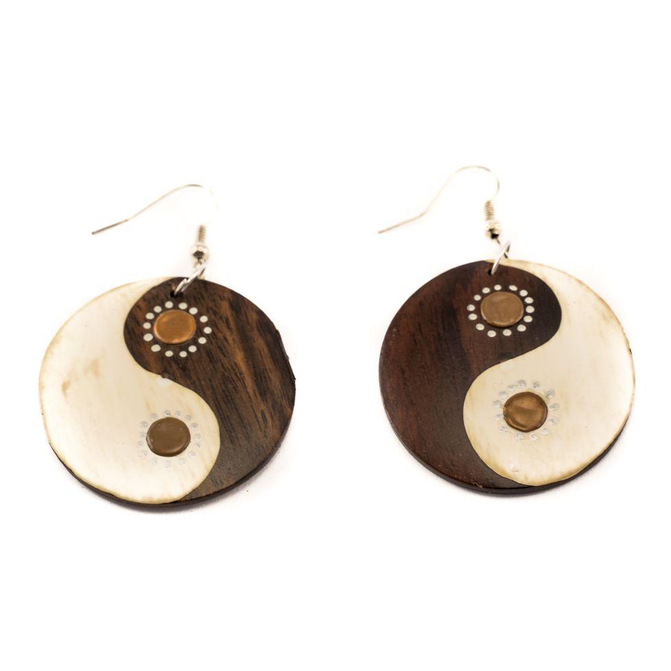 Malované dřevěné náušnice Yin&Yang - hnědé