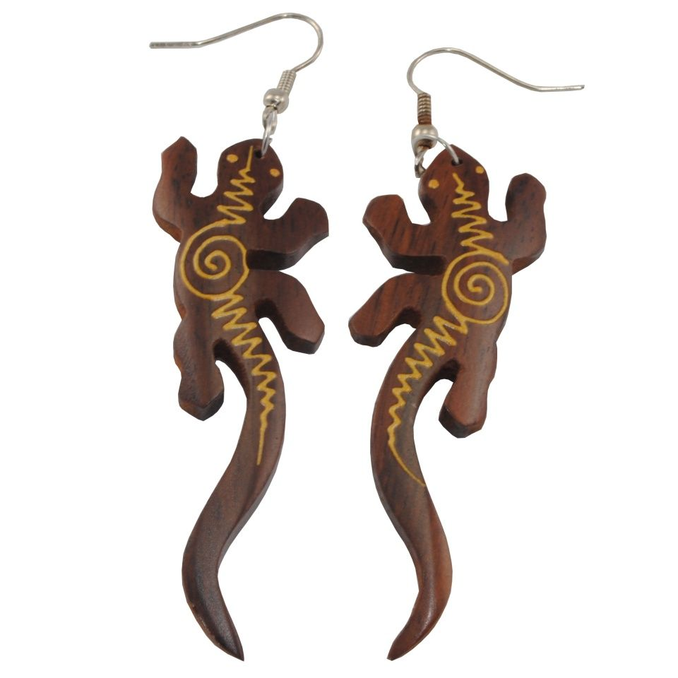 Malované dřevěné náušnice Elektrická ještěrka