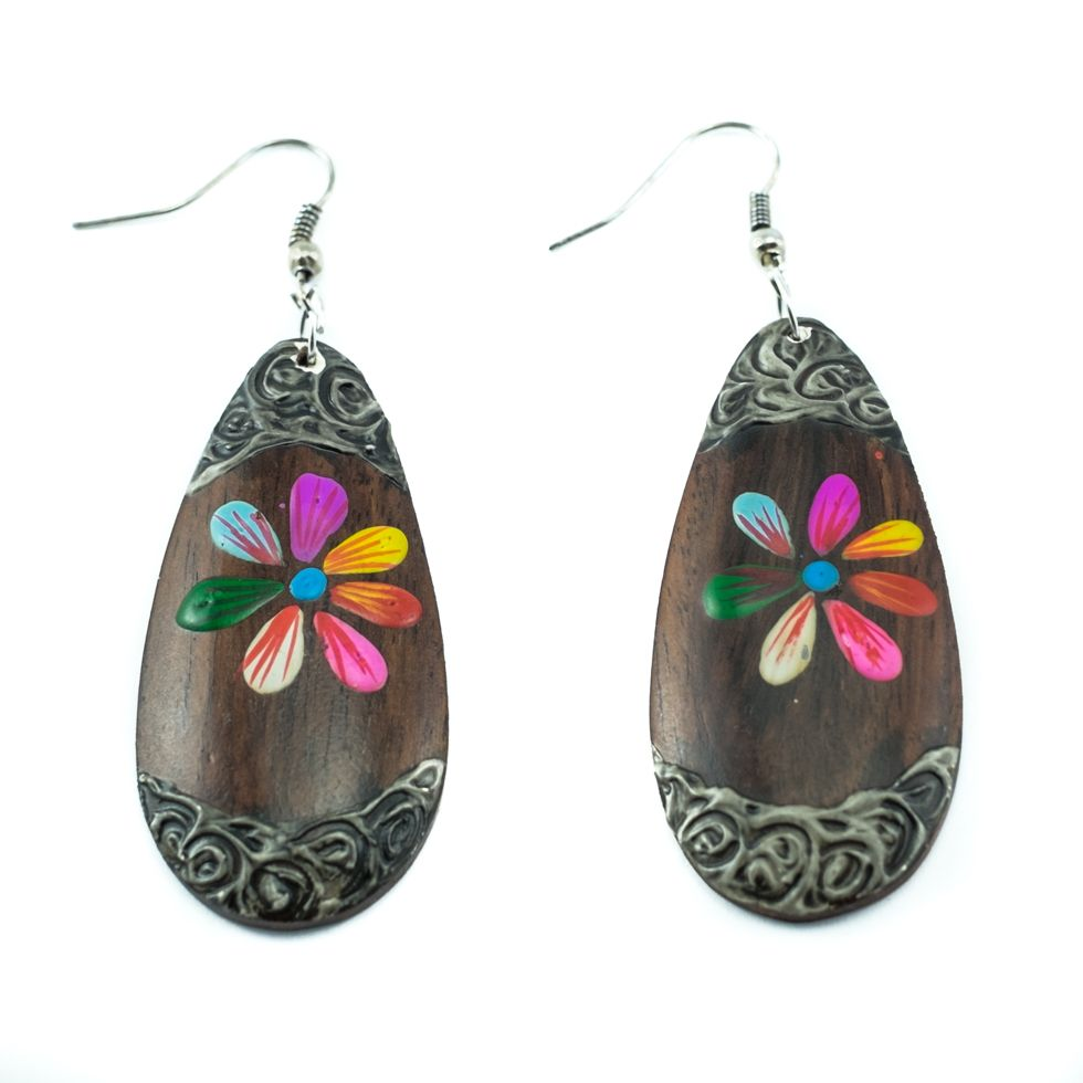 Malované dřevěné náušnice Květinka Lentilka