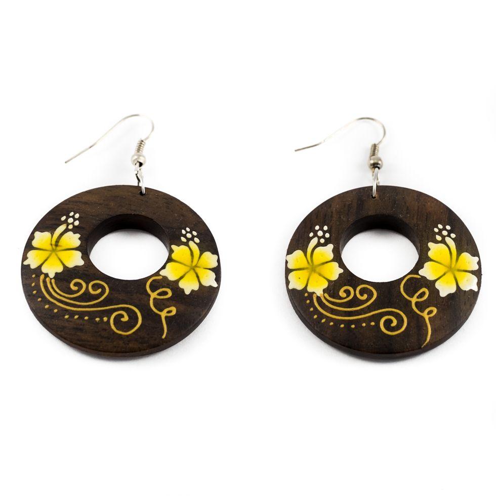 Malované dřevěné náušnice Roztomilé květiny - žluté
