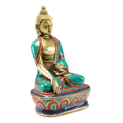 Bronzová soška vykládaná kameny Buddha Bhumisparsa - větší velikost