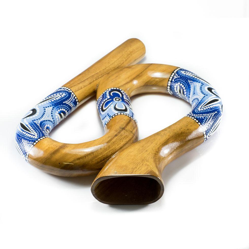 Cestovní didgeridoo esovitého tvaru v modrém provedení
