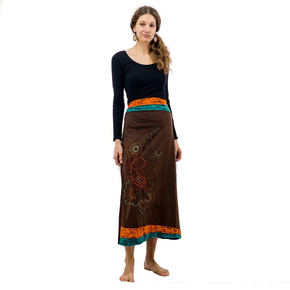 Dlouhá vyšívaná etno sukně Bhamini Hutan