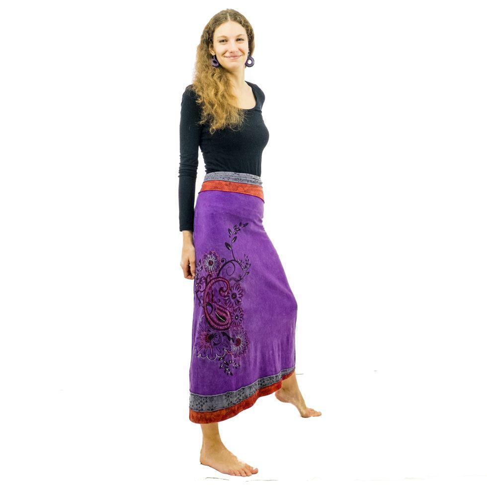 Dlouhá vyšívaná etno sukně Bhamini Ungu