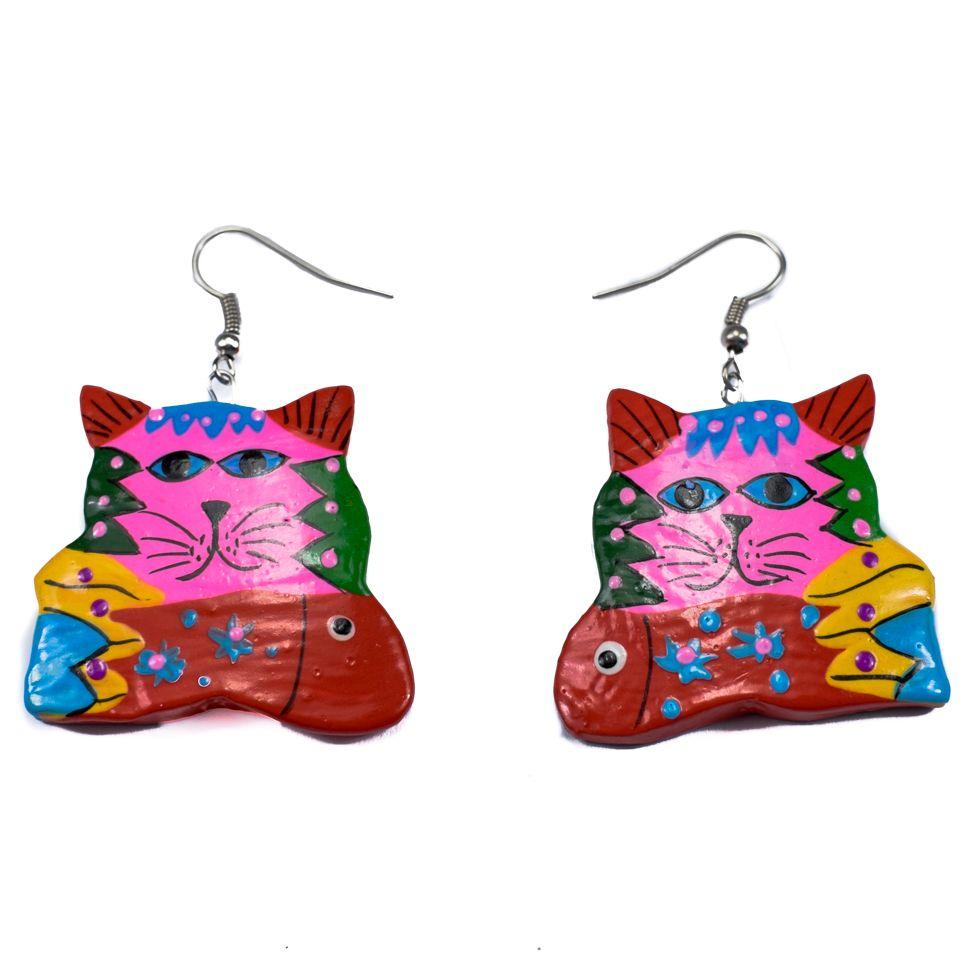 Malované dřevěné náušnice Psychedelická kočka