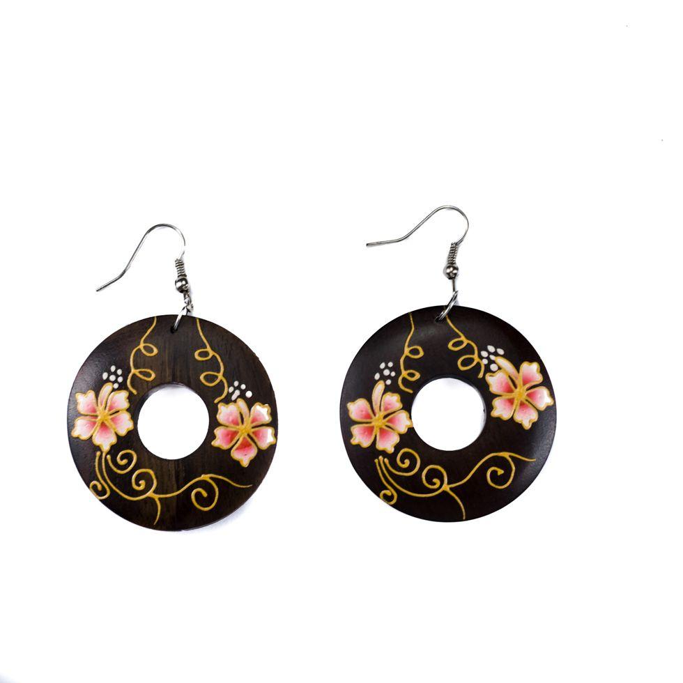 Malované dřevěné náušnice Roztomilé květiny - růžové