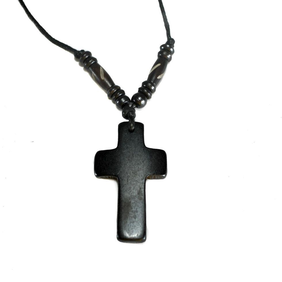 Kostěný přívěsek Křížek - černý