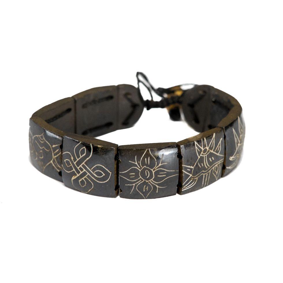 Kostěný náramek Aštamangala - hranatý, černý