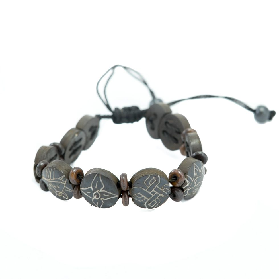 Kostěný náramek Aštamangala - kulatý, černý, menší