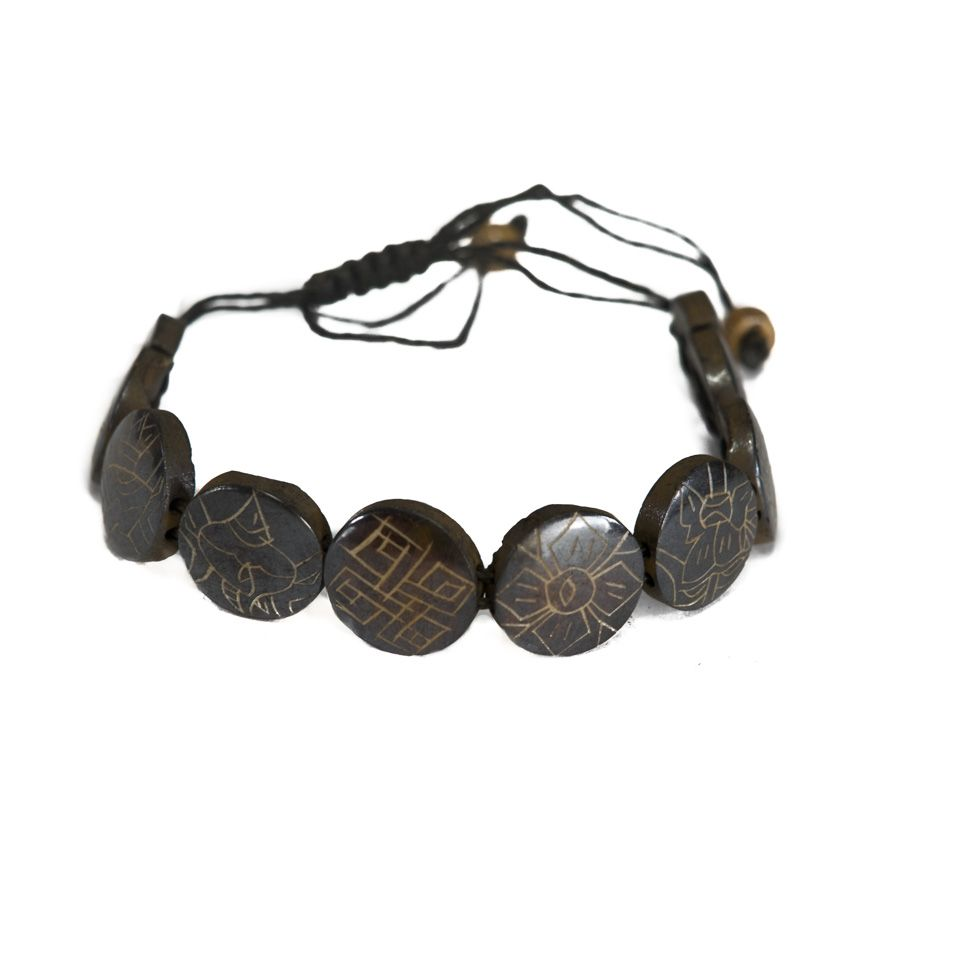 Kostěný náramek Aštamangala - kulatý, černý, větší