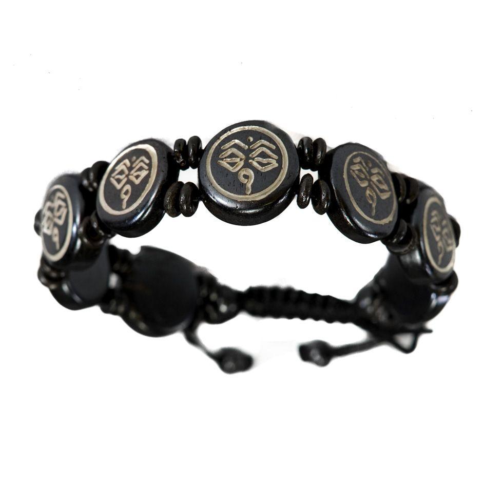 Kostěný náramek Buddhovy oči - černý