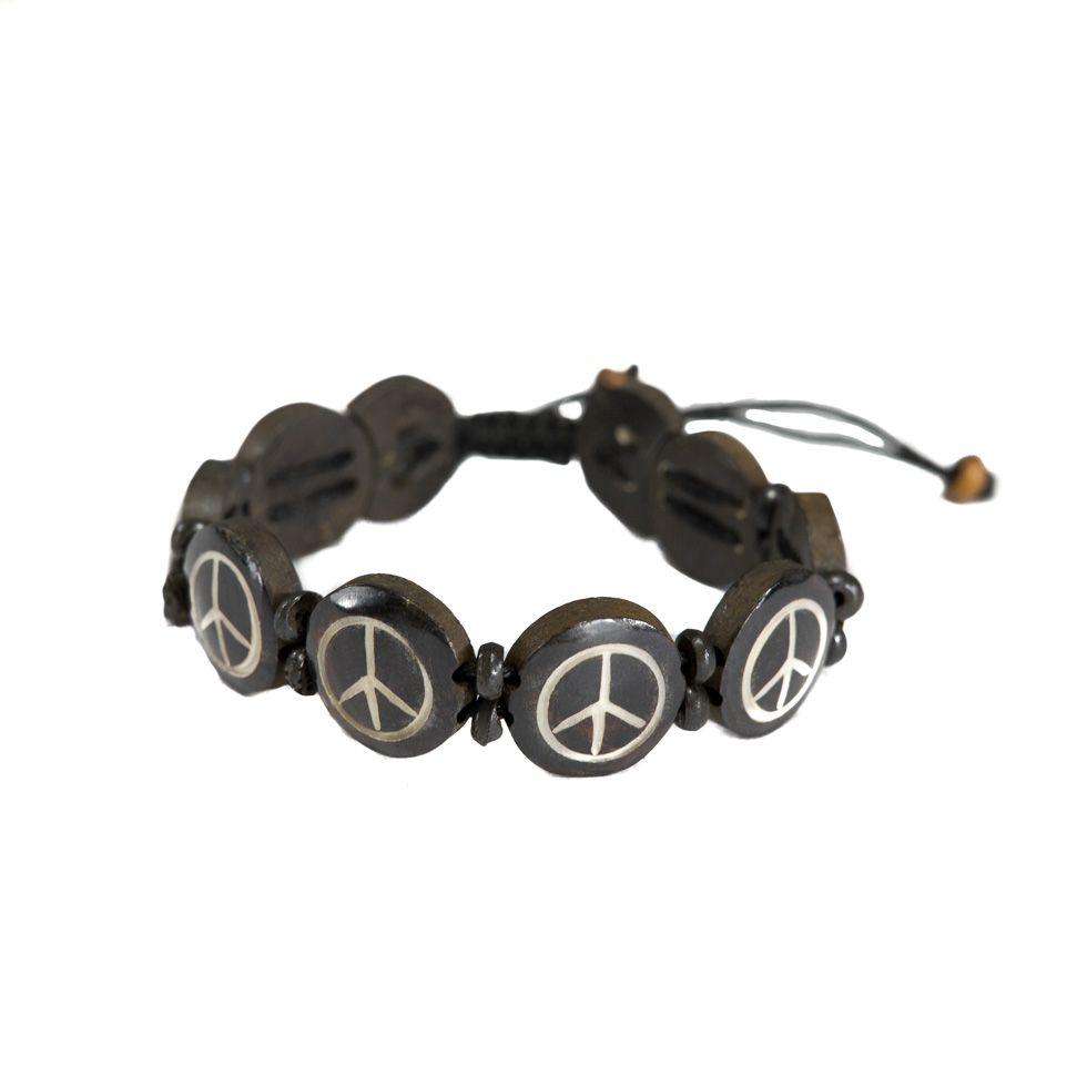 Kostěný náramek Peace - černý