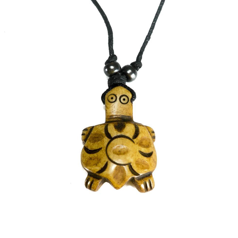 Kostěný přívěsek Hnědá želvička - jednoduchý