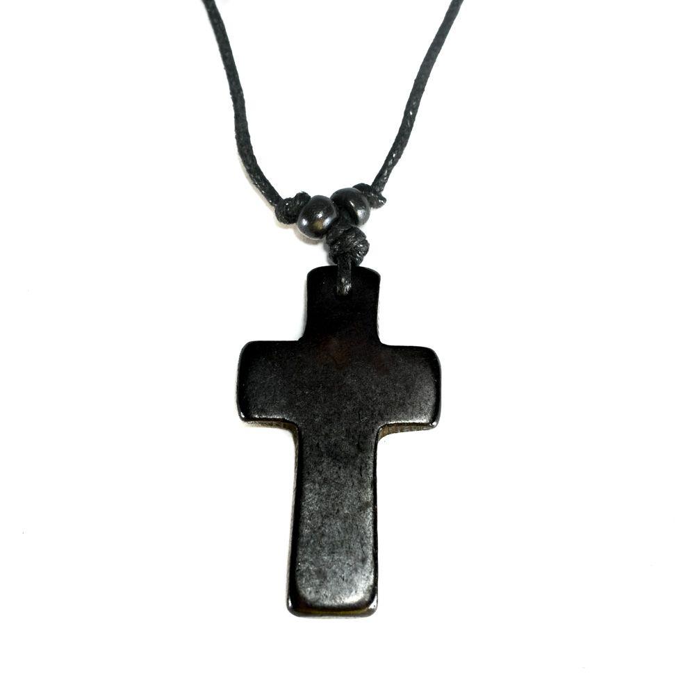 Kostěný přívěsek Křížek - černý, jednoduchý