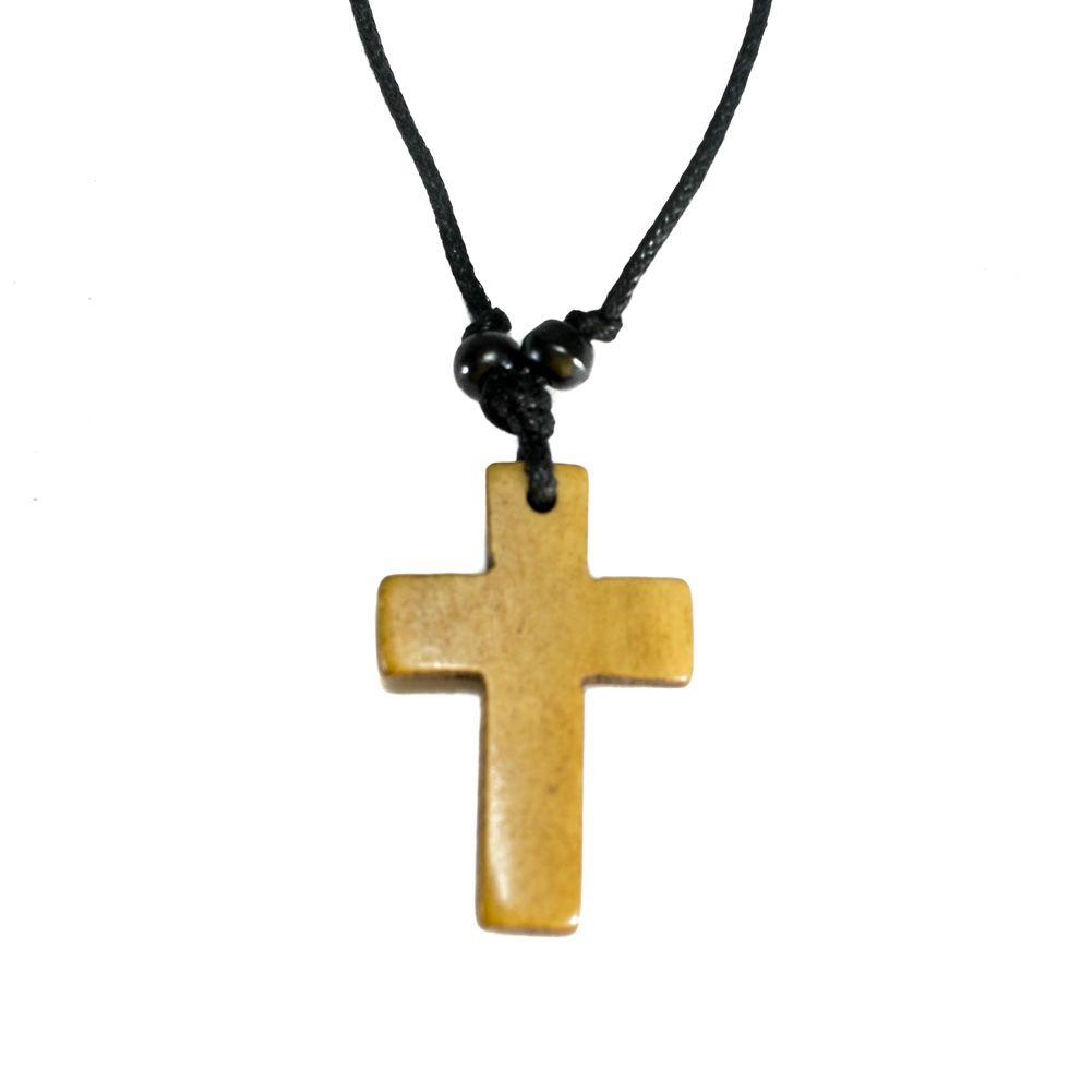Kostěný přívěsek Křížek - hnědý, jednoduchý