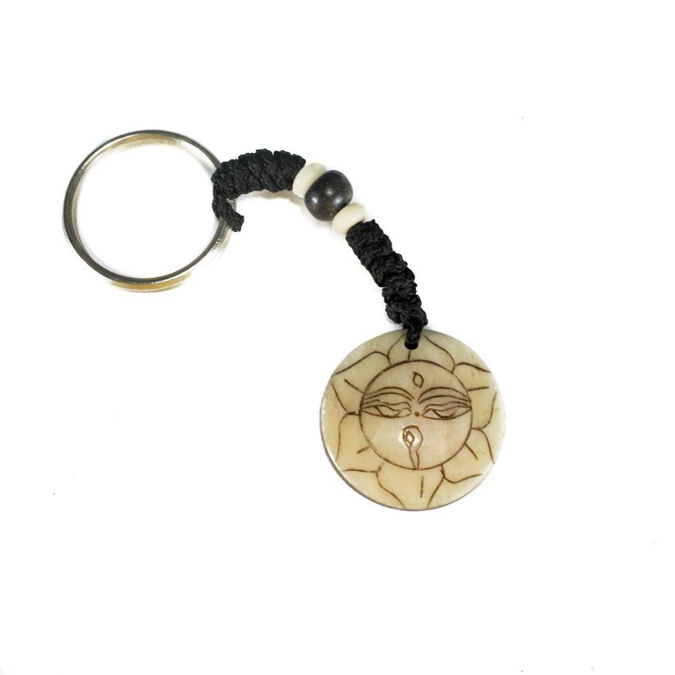 Kostěný přívěsek na klíče Buddhovy oči v lotosovém květu