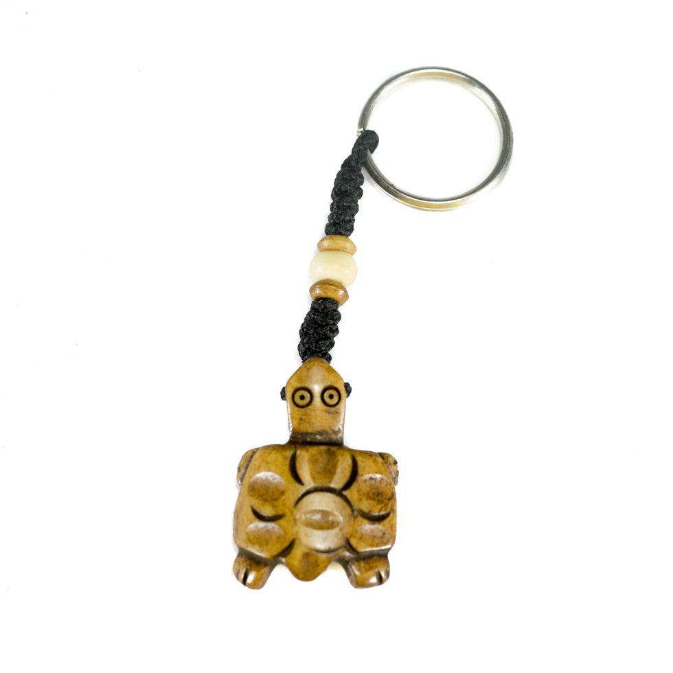 Kostěný přívěsek na klíče Hnědá želvička