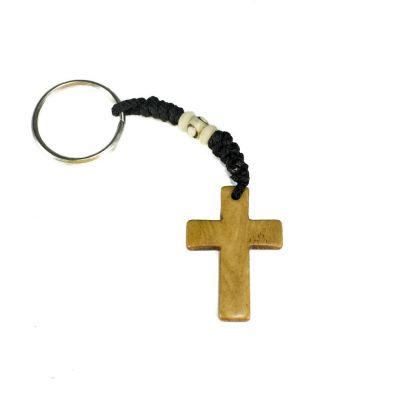 Přívěsek na klíče Křížek - hnědý