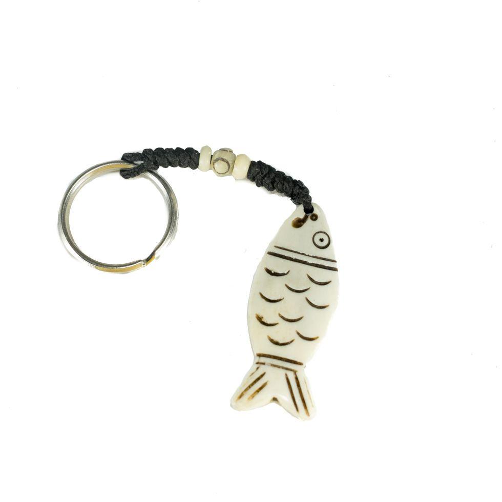 Kostěný přívěsek na klíče Ryba s obrysem