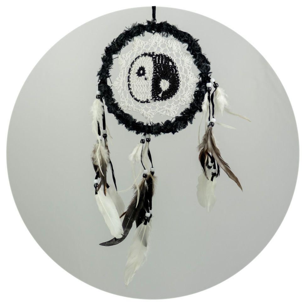 Lapač snů s háčkováním Yin&Yang Black