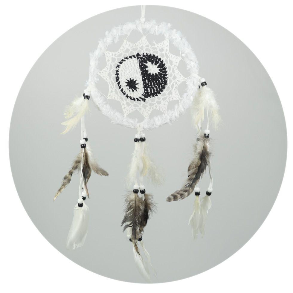 Lapač snů s háčkováním Yin&Yang White