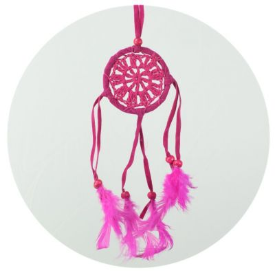 Malinký lapač snů - růžový, háčkovaný