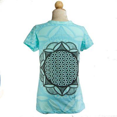 Dámské tričko Mirror s krátkým rukávem Flower of Life Blue