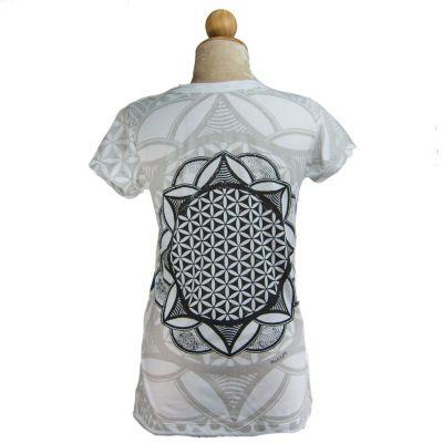 Dámské tričko Mirror s krátkým rukávem Flower of Life White