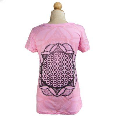 Dámské tričko Mirror s krátkým rukávem Flower of Life Pink