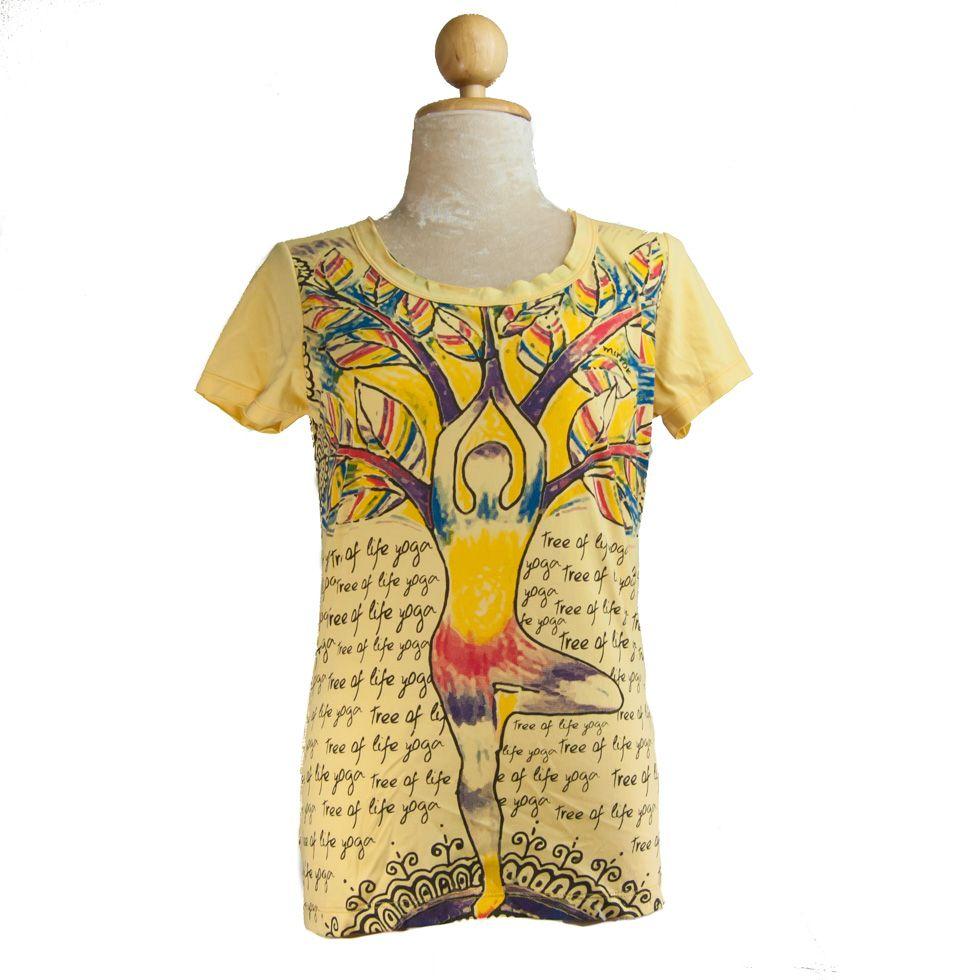 Dámské tričko Mirror s krátkým rukávem Tree of life yoga Yellow