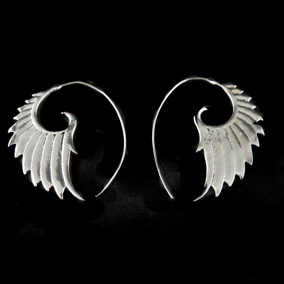 Náušnice z německého stříbra Wings
