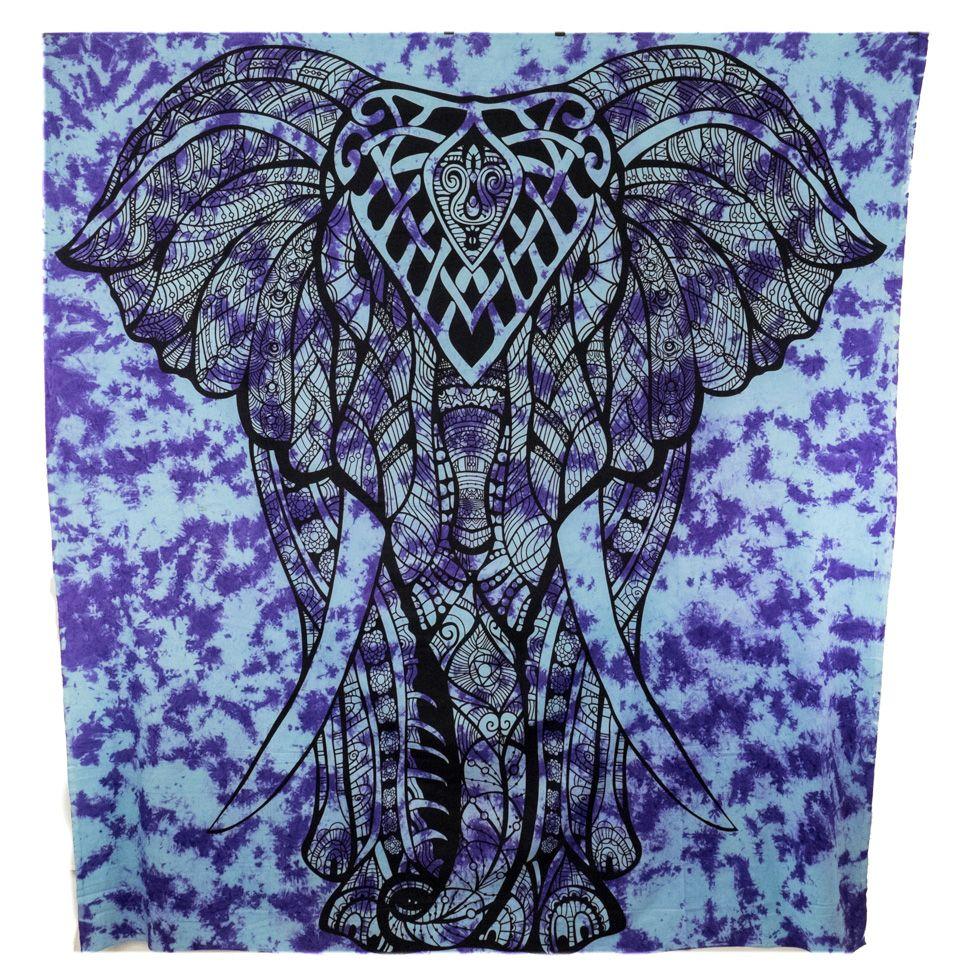 Bavlněný přehoz na postel Velký slon - fialový India