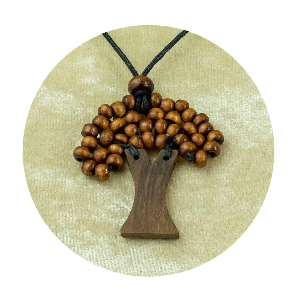 Dřevěný přívěsek Stromek - hnědý