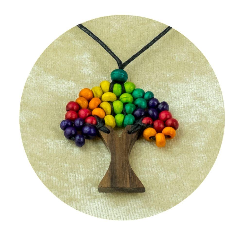 Dřevěný přívěsek Stromek - pestrobarevný