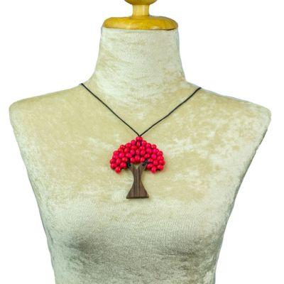 Dřevěný přívěsek Stromek - růžový