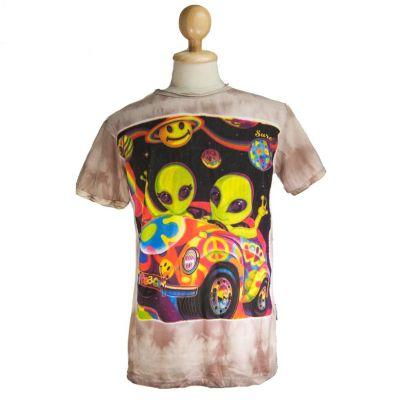 Tričko Hippie Aliens Brown